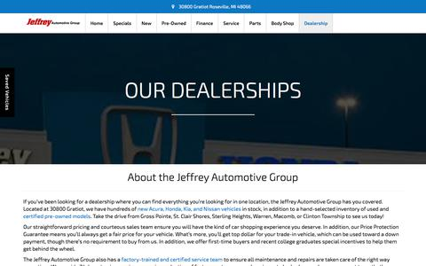 Screenshot of About Page jeffreyauto.com - New and Used Car Dealers | Jeffrey Automotive Group - captured Oct. 16, 2017