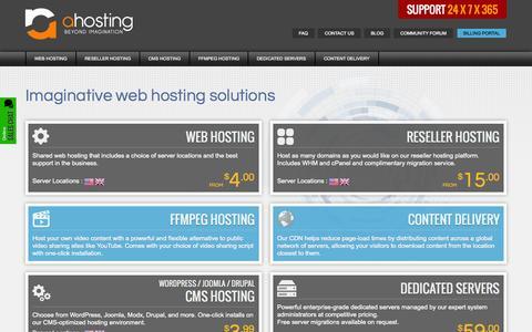 Screenshot of Home Page ahosting.net - Fully Managed Reseller Hosting & Dedicated Servers - Ahosting - captured Sept. 19, 2014