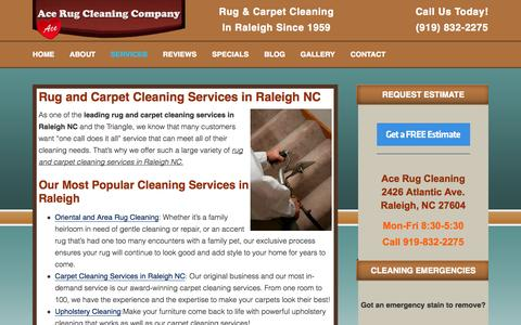 Screenshot of Services Page acerug.com - Cleaning Services Raleigh NC | Ace Rug Cleaning Company - captured Oct. 31, 2014