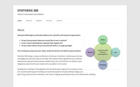 Screenshot of Home Page synthesis360.com - SYNTHESIS 360 | PRODUCT AND MARKET DEVELOPMENT - captured Sept. 30, 2014