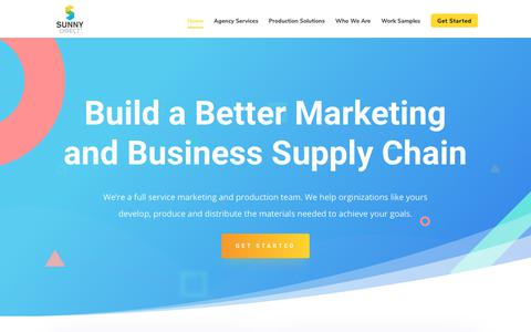 Screenshot of Home Page sunnydirect.com - Marketing Supply Chain | Commercial Print & Fulfillment | Sunny Direct - captured Nov. 7, 2018
