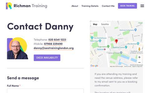 Screenshot of Contact Page seotraininglondon.org - Contact Me - Richman SEO Training - captured Sept. 27, 2018
