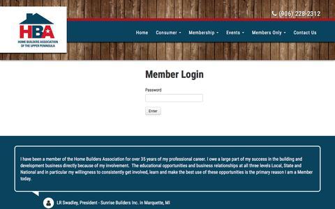 Screenshot of Login Page upbuilders.org - Home Builders Association of the Upper Peninsula | Marquette, MI - captured Aug. 24, 2017