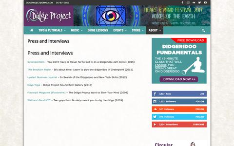 Screenshot of Press Page didgeproject.com - Press and Interviews - Didge Project - captured June 4, 2017