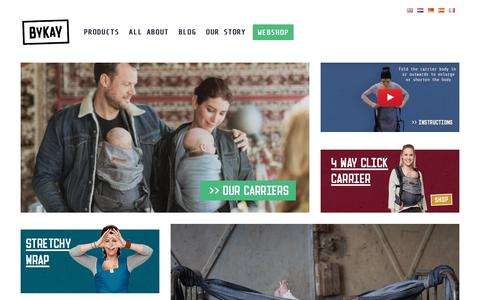 Screenshot of Home Page bykay.com - ByKay.com • A Complete Range Of Ergonomic Baby Carriers • ByKay - captured Aug. 4, 2018