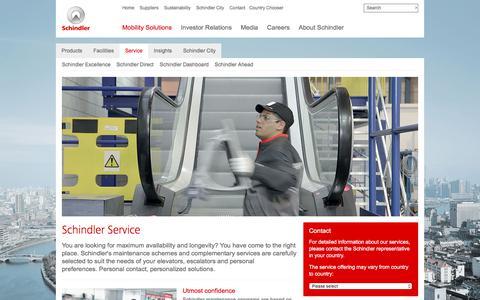 Screenshot of Services Page schindler.com - Schindler Service - captured July 18, 2017