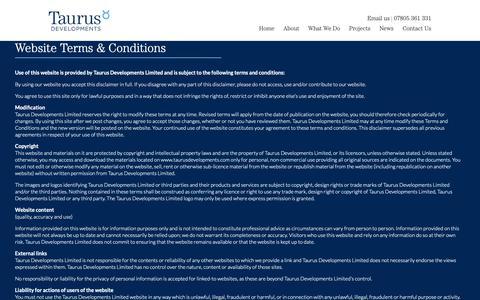 Screenshot of Terms Page taurusdevelopments.com - Terms & Conditions - Taurus Developments - captured Oct. 20, 2018