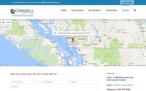 Screenshot of Contact Page comwellgroup.com - Network Services, IT Consulting & Outsourcing, Computer Support - Vancouver, Richmond, Burnaby | Comwell Systems Group - captured Nov. 8, 2016