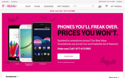 Screenshot of Home Page t-mobile.com captured Oct. 22, 2015