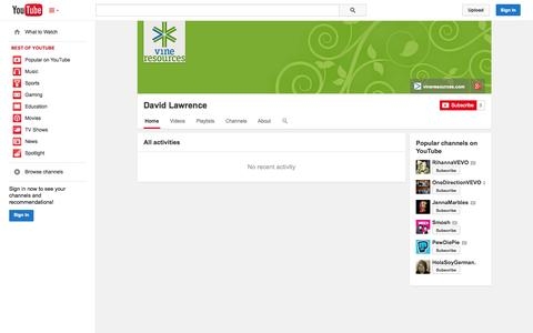 Screenshot of YouTube Page youtube.com - David Lawrence  - YouTube - captured Oct. 29, 2014
