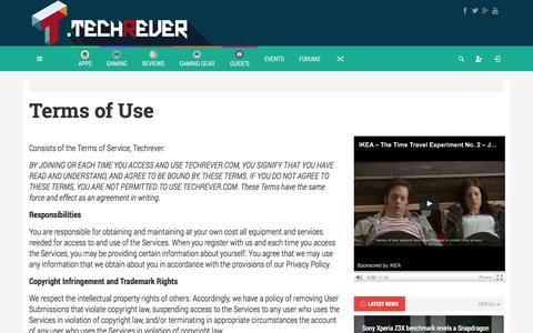 Screenshot of Terms Page techrever.com - Terms of Use - Techrever - captured Oct. 7, 2014