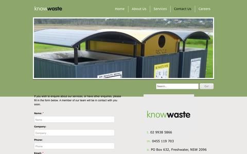 Screenshot of Contact Page knowwaste.com.au - Contact Us - Knowwaste - captured Oct. 6, 2014
