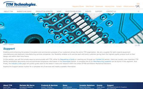 Screenshot of Support Page ttmtech.com - Support - TTM Technologies, Inc. - captured Nov. 6, 2018