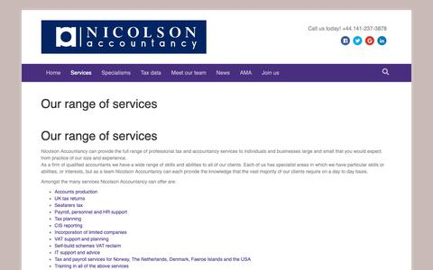 Screenshot of Services Page nicolsonaccountancy.co.uk - Our range of services - Nicolson Accountancy - captured Oct. 19, 2018
