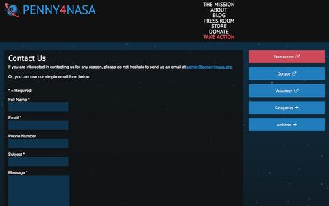 Screenshot of Contact Page penny4nasa.org - Contact Us | Penny4NASA - captured Sept. 29, 2014