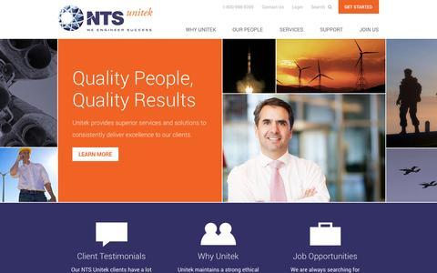 Screenshot of Home Page nts-unitek.com - NTS Unitek Technical Services - captured Oct. 1, 2014