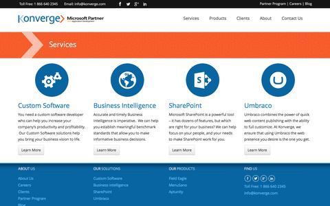 Screenshot of Services Page konverge.com - Custom Software, Custom Software Solutions | Services - captured Feb. 12, 2016
