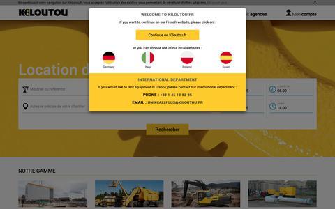 Screenshot of Home Page kiloutou.fr - Location de matériel Bâtiment, Travaux Publics, Industrie | Kiloutou - captured March 24, 2019