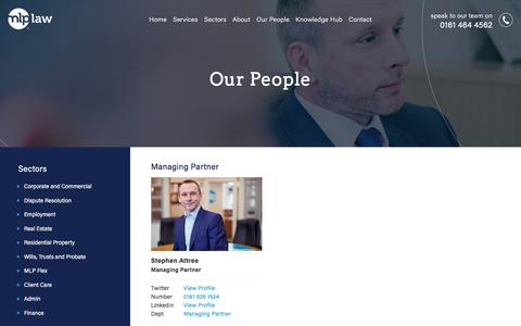 Screenshot of Team Page mlplaw.co.uk - Our People - MLP Law - captured Sept. 20, 2018