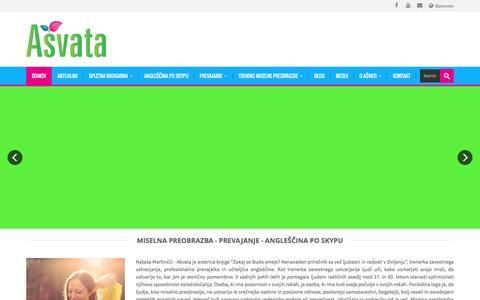 Screenshot of Home Page ashvata.si - Zavestno ustvarjanje, prevajanje, profi angleščina po Skypu - captured Feb. 6, 2016