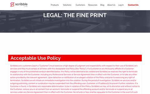 Screenshot of Terms Page scribblelive.com - Legal - ScribbleLive - captured March 6, 2018