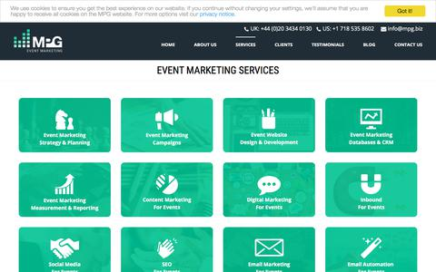 Screenshot of Services Page mpg.biz - B2B Event Marketing Services - captured Dec. 12, 2017