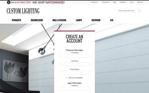 Screenshot of Signup Page customlighting.com.au - Create New Customer Account - captured Oct. 28, 2014