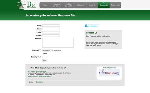 Screenshot of Contact Page barecruitment.co.uk - BA Recruitment - captured Oct. 5, 2014