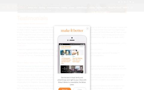 Screenshot of Testimonials Page makeitbetter.net - Testimonials - Make It Better - Family, Finances & Philanthropy - captured Feb. 4, 2016