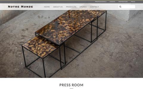 Screenshot of Press Page notremonde.com - Press Room | Notre Monde - captured Sept. 21, 2018