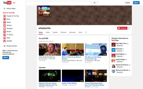 Screenshot of YouTube Page youtube.com - wheatsville  - YouTube - captured Nov. 4, 2014