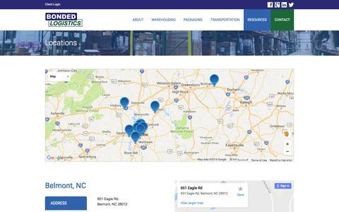 Screenshot of Locations Page bondedlogistics.com - Locations - Bonded Logistics | 3PL | Warehousing | Charlotte, NC - captured Nov. 23, 2016