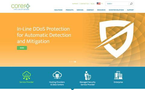Screenshot of Home Page corero.com - DDoS Attack Protection & Mitigation Services | Corero - captured Nov. 12, 2016