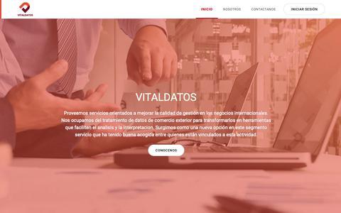 Screenshot of Home Page vitaldatos.com - Vitaldatos - captured Oct. 20, 2018