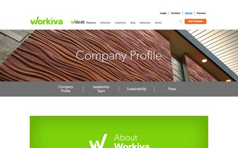 Screenshot of About Page workiva.com - Cloud-Based Business Reporting Solutions | Wdesk by Workiva - captured Sept. 13, 2014