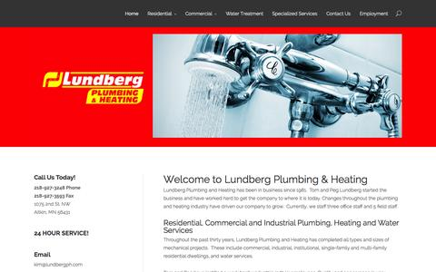 Screenshot of Home Page lundbergph.com - Lundberg Plumbing & Heating | Serving Aitkin and surrounding North Central MN area - captured Oct. 3, 2014