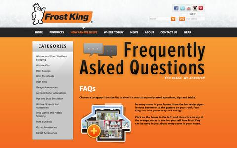 Screenshot of FAQ Page frostking.com - FAQs | Frost King® Home Weatherstripping, Window Seals & Insulation Kits - captured June 3, 2016