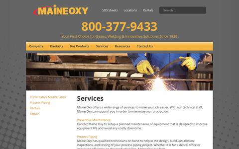 Screenshot of Services Page maineoxy.com - Services - Maine Oxy | Specialty Gases and Welding Supplies - captured May 26, 2017