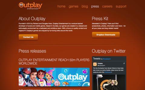 Screenshot of Press Page outplay.com - Press - Outplay Entertainment - captured Nov. 5, 2016