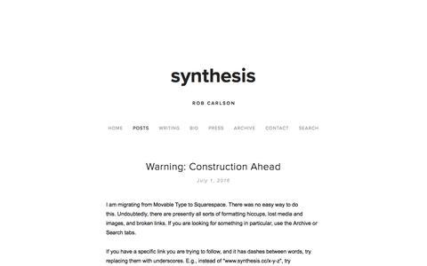 Screenshot of Blog synthesis.cc - synthesis — synthesis - captured Jan. 31, 2017