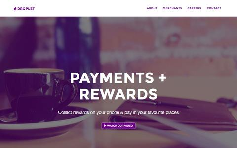 Screenshot of Home Page dropletpay.com - Droplet - Rewards + payments on your mobile - captured Sept. 12, 2015