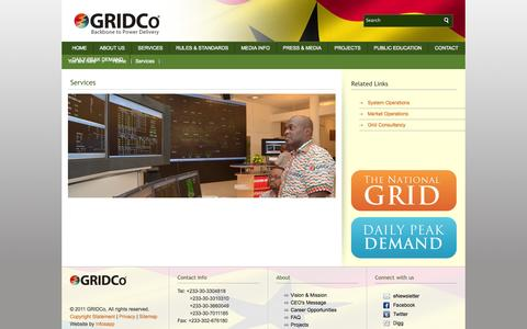 Screenshot of Services Page gridcogh.com - GRIDCo - Services - captured Oct. 2, 2014