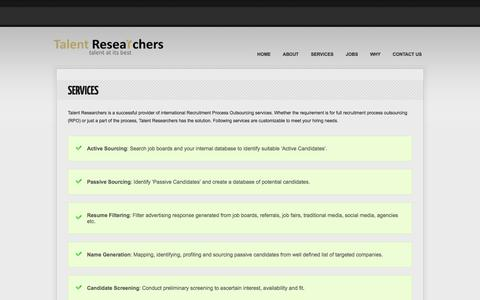 Screenshot of Services Page talentresearchers.com - SERVICES | talentresearchers.com - captured Oct. 27, 2014