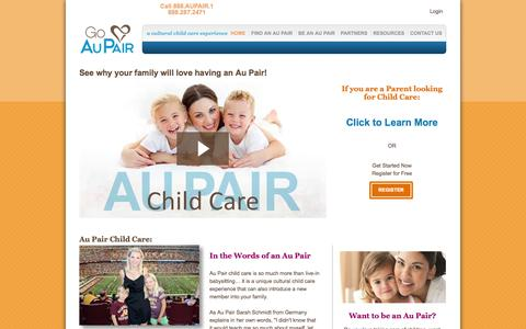 Screenshot of Home Page goaupair.com - Best Ranking Au Pair Agency for Live-in Au Pairs | Go Au Pair - captured Jan. 26, 2015