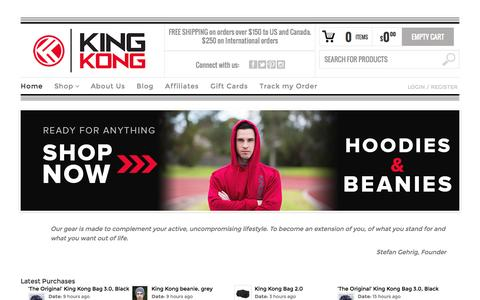 Screenshot of Home Page kingkongapparel.com - Gym bags & Lifestyle Bags Backpacks & Messenger bags - captured Sept. 19, 2014