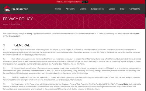 Screenshot of Privacy Page era.com.sg - Privacy Policy | ERA Realty Network Singapore - captured May 3, 2017