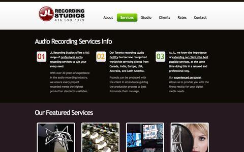 Screenshot of Services Page jlstudios.ca - JL Recording Studios: Audio Recording Services - captured Oct. 4, 2014