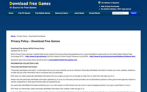 Screenshot of Privacy Page download-free-games.com - Privacy Policy - Download Free Games - Download Free Games - captured Oct. 19, 2018