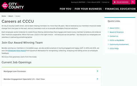 Screenshot of Jobs Page cccu.com - Banking Careers in Minnesota - CCCU - captured May 31, 2018