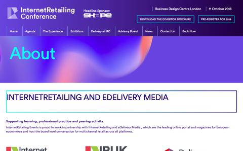 Screenshot of About Page internetretailingconference.com - About «  Internet Retailing Conference 2018 - captured Oct. 23, 2018